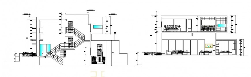 Main and back sectional drawing details of residential bungalow dwg file
