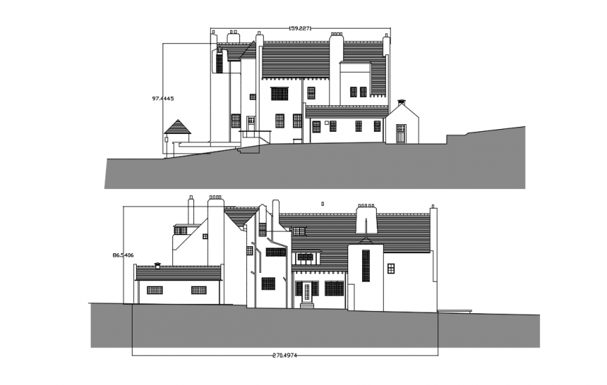 Main and back side elevation details of hill station house dwg file