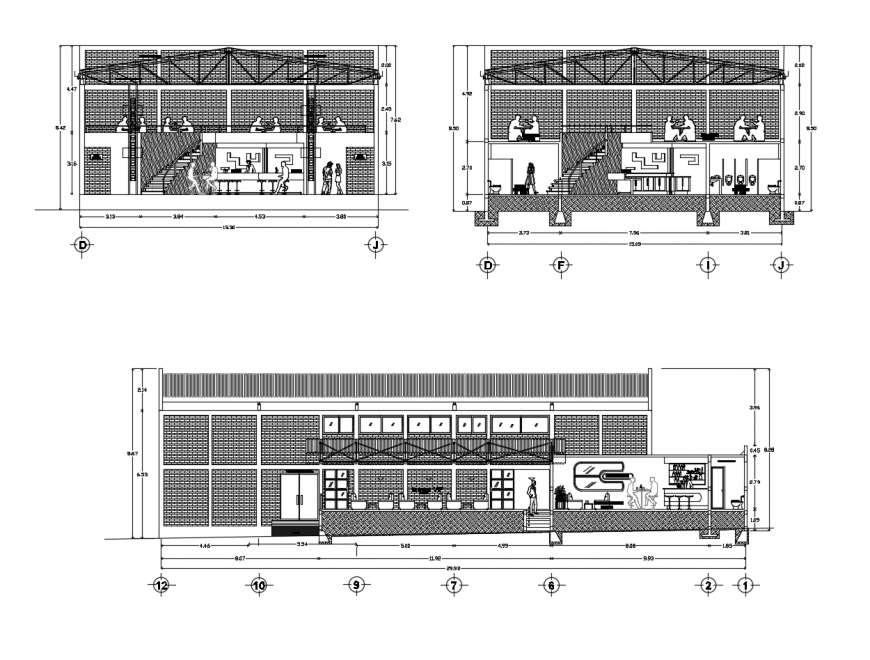 Main and both sided sectional details of discotheque with bar and restaurant dwg file