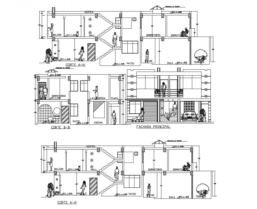 Main and both sided sectional drawing details of apartment building dwg file