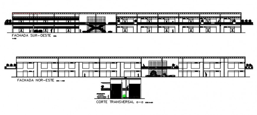 Main and north side elevation and transverse section details of shopping center dwg file