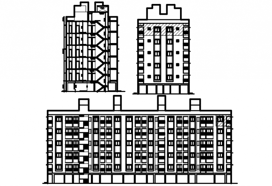 Main and side elevation and side section drawing details for apartment building dwg file