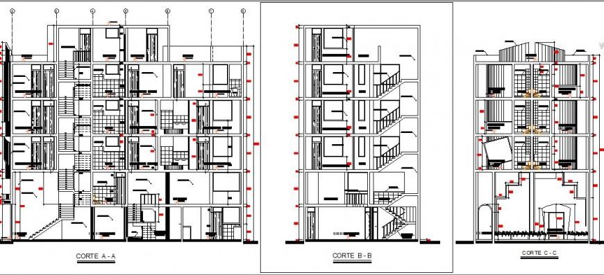 Main and side sectional details of multi-story luxuries hotel building dwg file