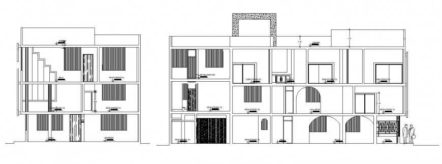 Main and side sectional drawing details of local hotel building dwg file