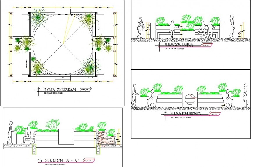Main circle plan, elevation and section layout file