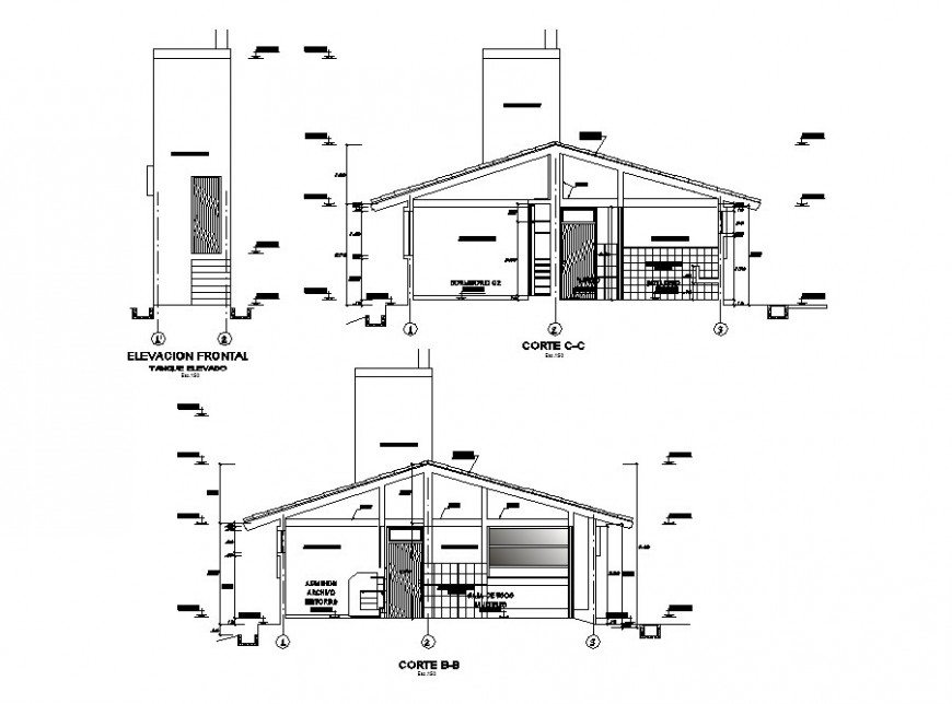 Main cut elevation and sectional details of hospital cad drawing details dwg file