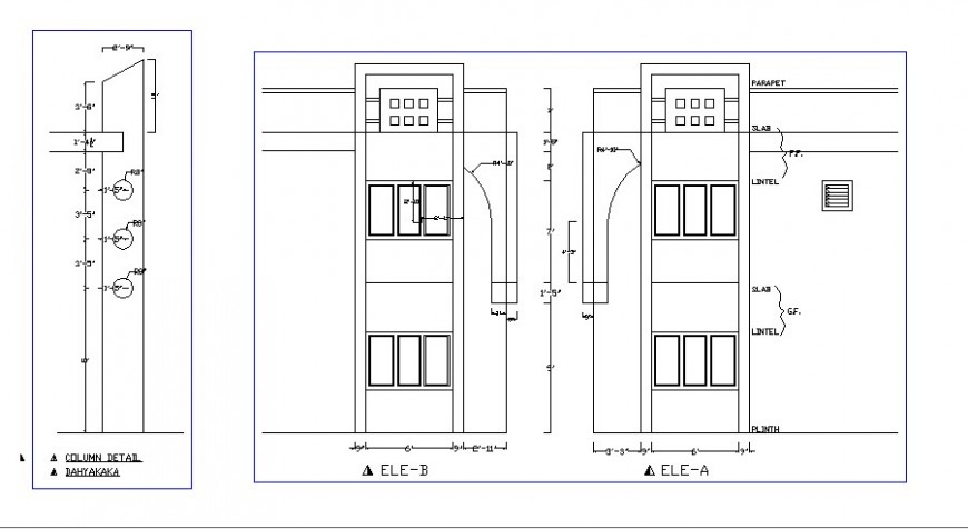 Main door elevation and installation details for residential house dwg file