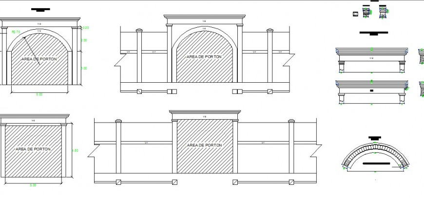 Main doors and wall elevation and interior blocks drawing details dwg file