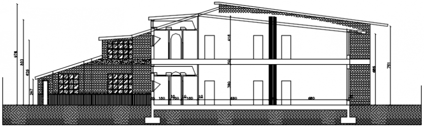 Main elevated section drawing details of restaurant dwg file