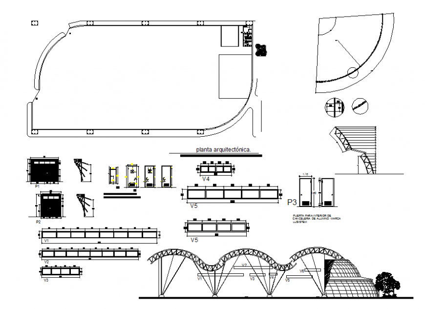 Main elevation, column and beam schedule and auto cad details of shopping mall building dwg file