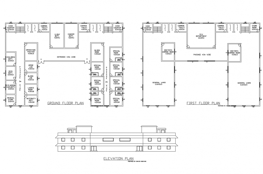 Main elevation, ground floor and first floor plan details of hospital dwg file