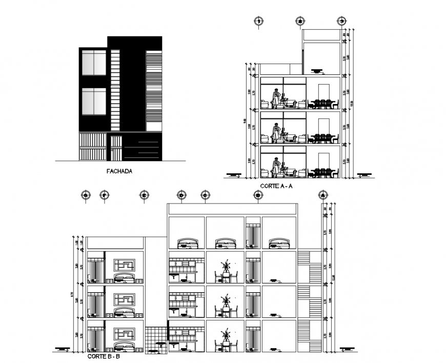 Main elevation, main section and back section drawing details of apartment building dwg file