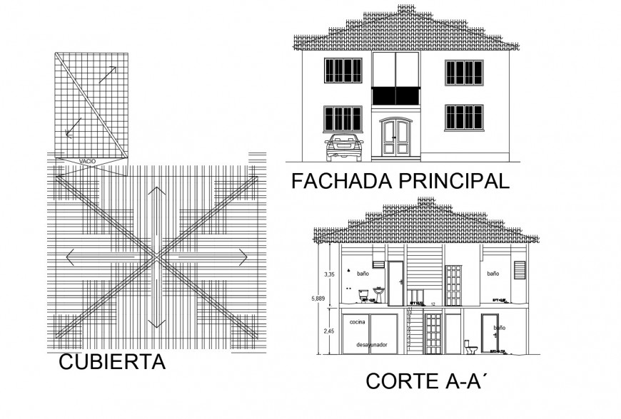 Main elevation, main section and cover plan details of one family house dwg file
