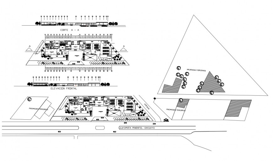 Main elevation, section, distribution and floor plan drawing details of commercial building dwg file