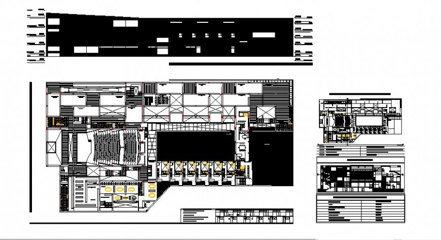 Main elevation, section, distribution plan and auto-cad details of museum dwg file