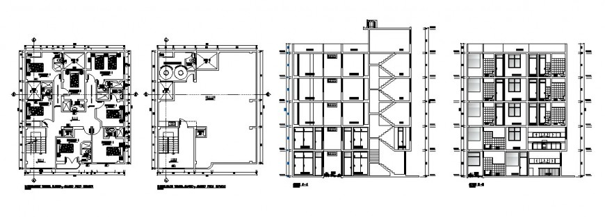 Main elevation, section, floor plan and auto-cad drawing details dwg file