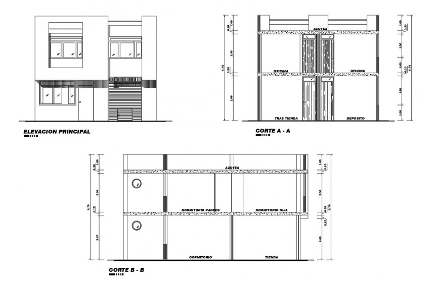 Main elevation, section and back sectional details of home with store dwg file