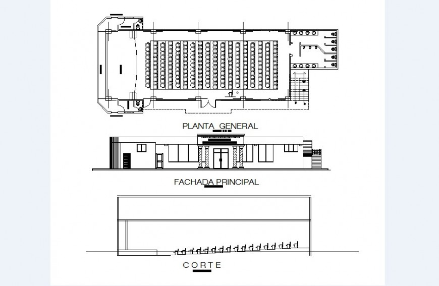 Main elevation, section and distribution plan details of auditorium hall dwg file