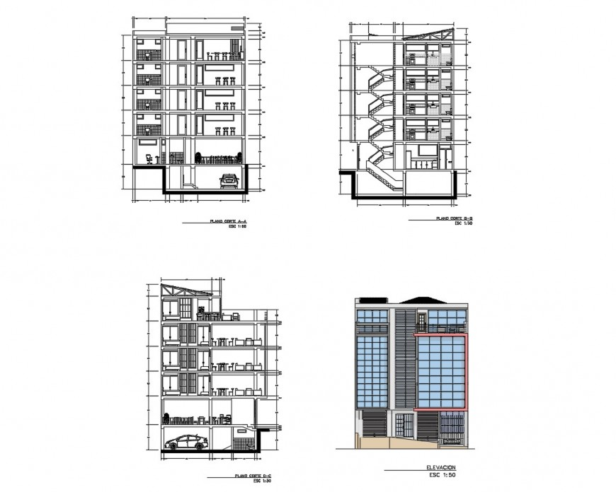 Main elevation and all sided section details of apartment housing building dwg file