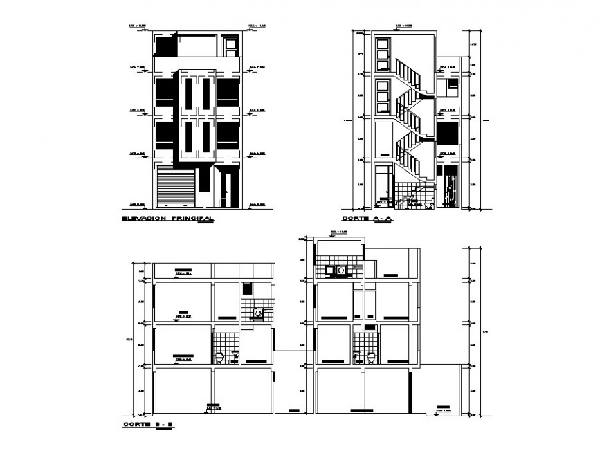Main elevation and all sided section details of residential apartment building dwg file