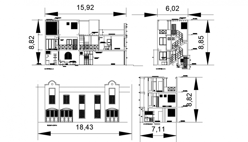 Main elevation and all sided section details of three story house dwg file