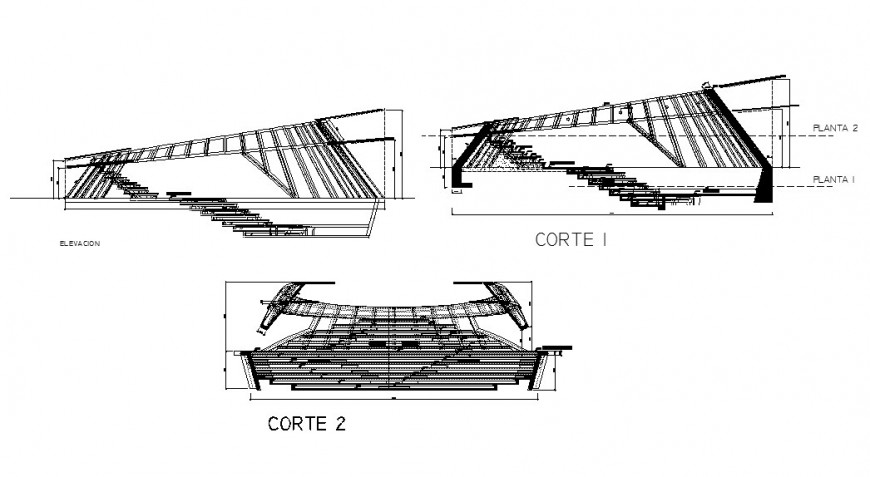 Main elevation and all sided sectional details of Amphi theater dwg file