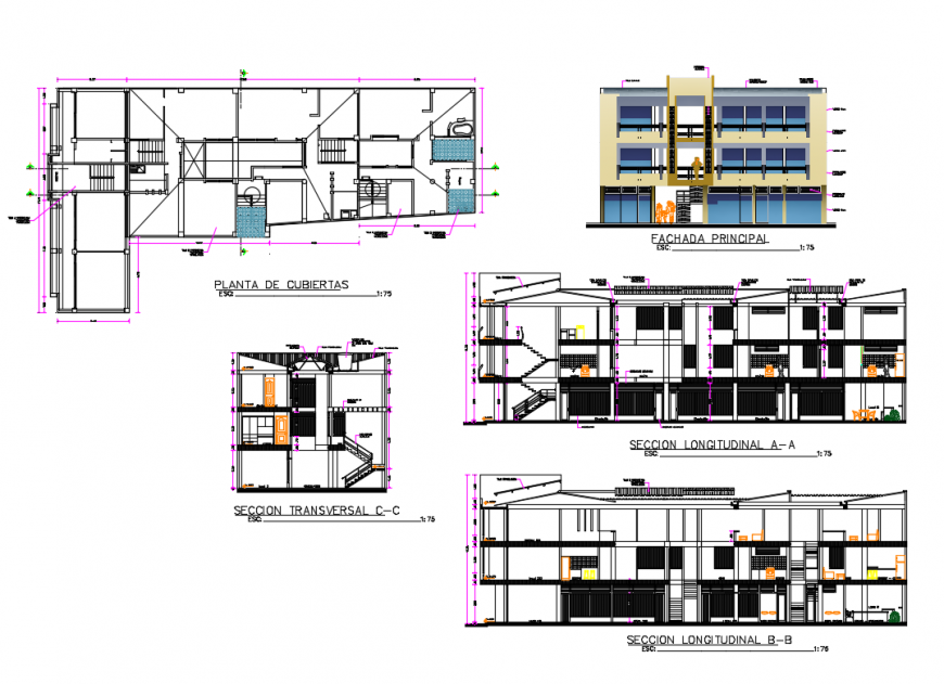Main elevation and all sided sectional details of apartment building with cover plan dwg file