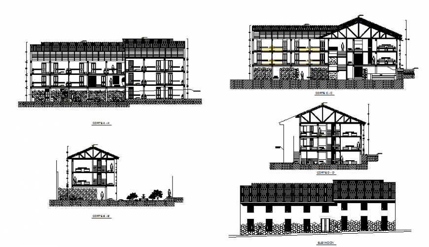 Main elevation and all sided sectional details of multi-level hotel dwg file