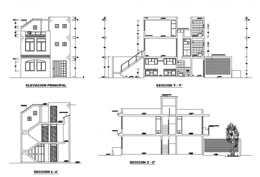 Main elevation and all sided sectional details of two-story house dwg file