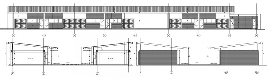 Main elevation and both sided section details of primary school dwg file