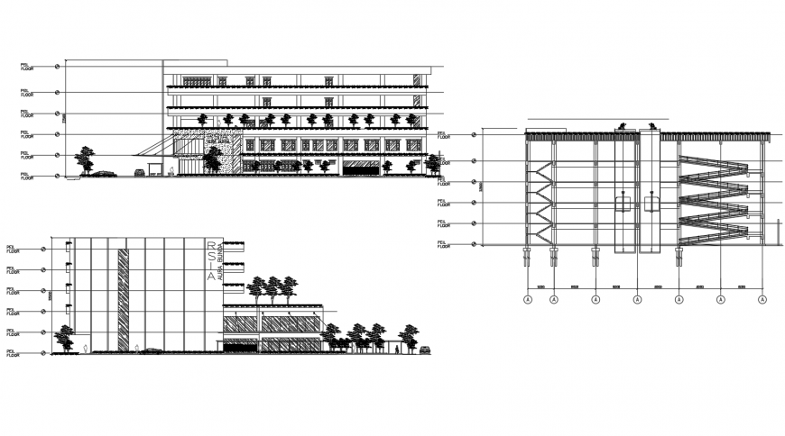 Main elevation and both sided sectional drawing details of maternity hospital dwg file