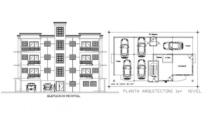 Main elevation and car parking floor layout plan details of apartment building dwg file