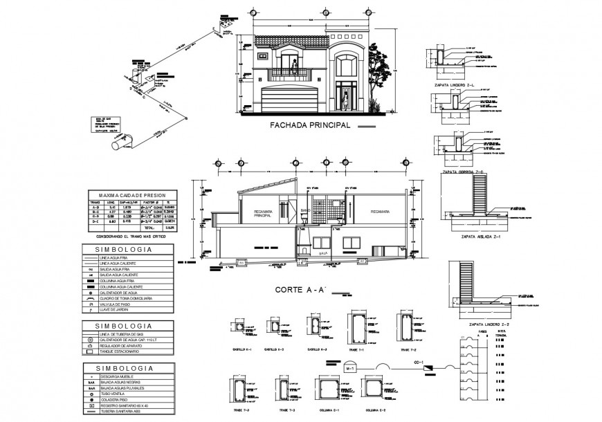 Main elevation and constructive sectional details of two-story house cad drawing details dwg file