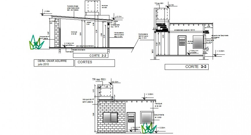 Main elevation and cut sided sectional details of one family house dwg file