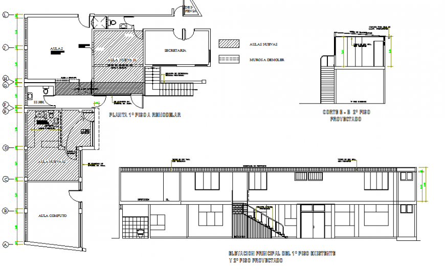 Main elevation and first floor plan distribution drawing details of school dwg file