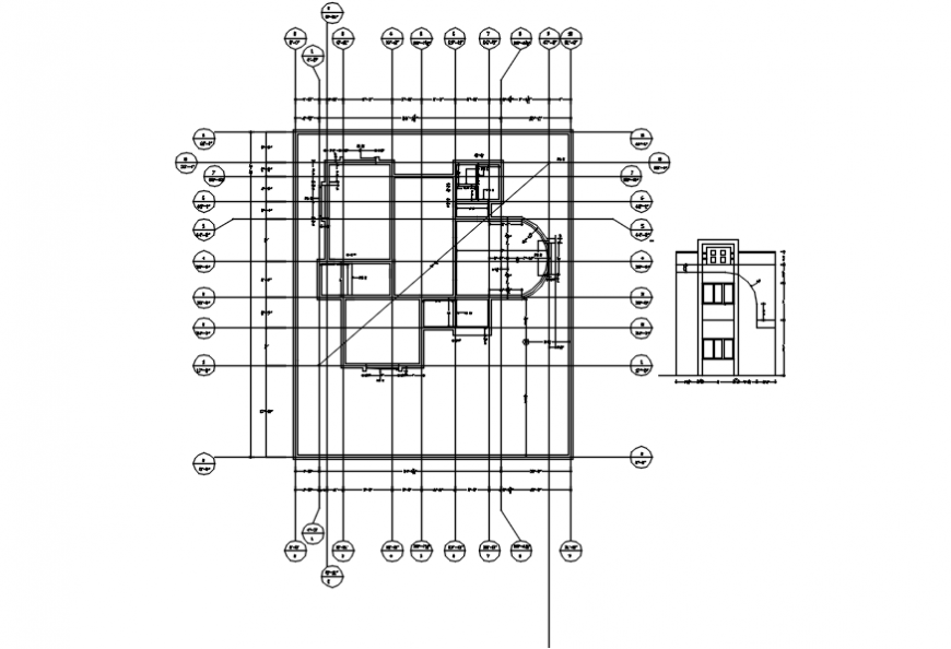 Main elevation and floor framing structure details of bungalow dwg file