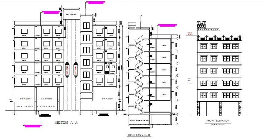 Main elevation and main and back sectional drawing details of shopping mall building dwg file