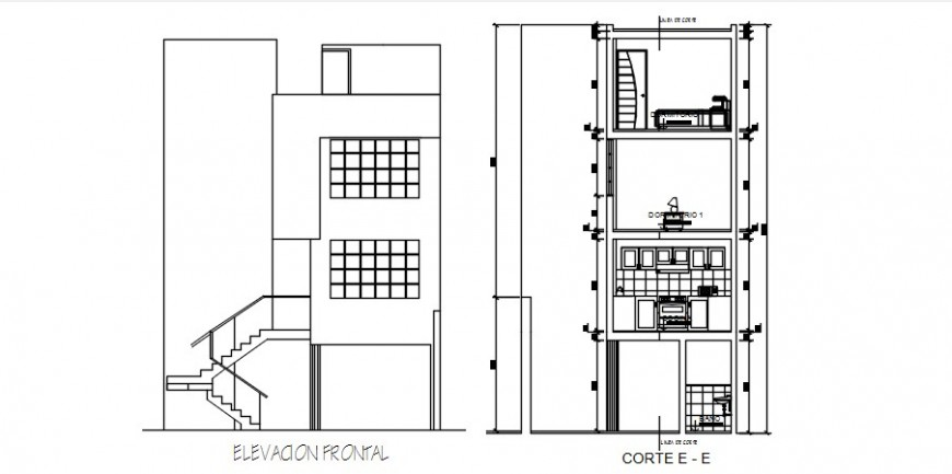 Main elevation and main section drawing details of three story house dwg file