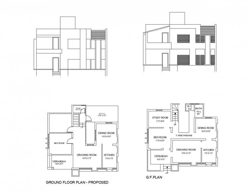 Main elevation and proposed ground floor layout plan details of house dwg file