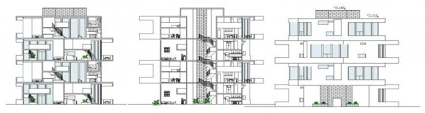 Main elevation and rare both sided section drawing details of housing building dwg file