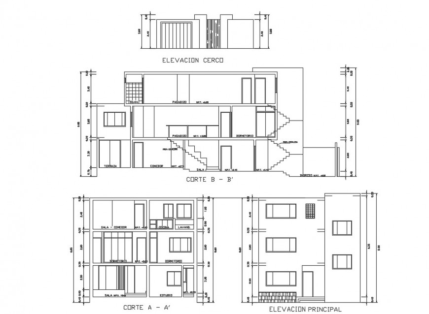 Main elevation and section details of detached house dwg file