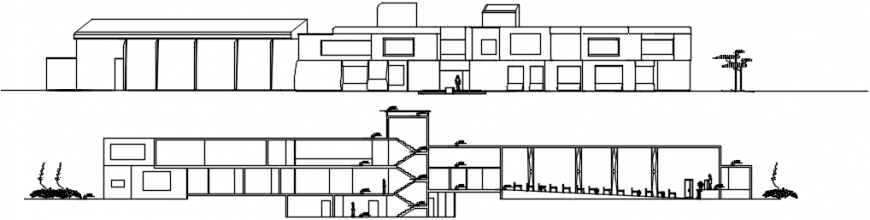 Main elevation and section details of restaurant dwg file