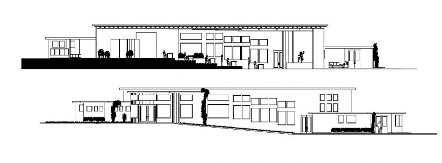 Main elevation and section drawing details of art gallery dwg file