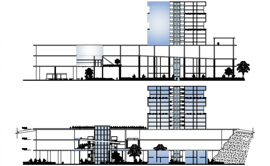 Main elevation and section drawing details of hotel with convention center dwg file