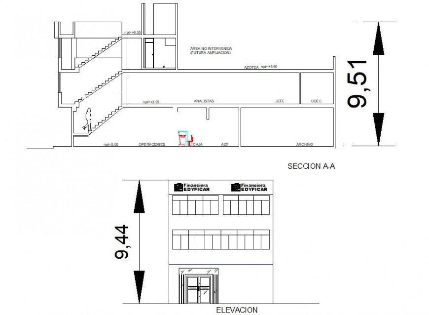 Main elevation and section drawing details of office building dwg file