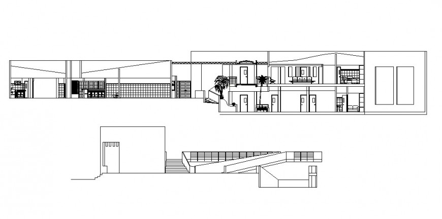 Main elevation and sectional details of residential house dwg file