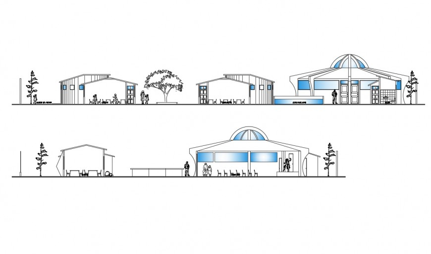 Main elevation and sectional drawing details of canteen of school dwg file