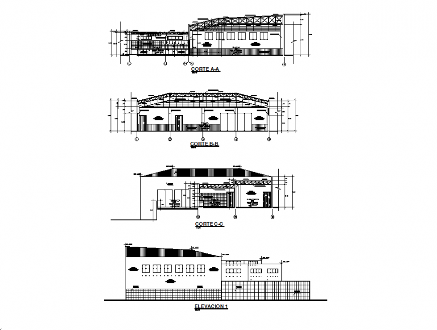 Main elevation and three sided section drawing details of auditorium hall dwg file