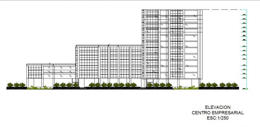 Main elevation details of multi-flooring finance building dwg file