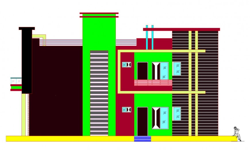 Main elevation details of two-story residential house cad drawing details dwg file